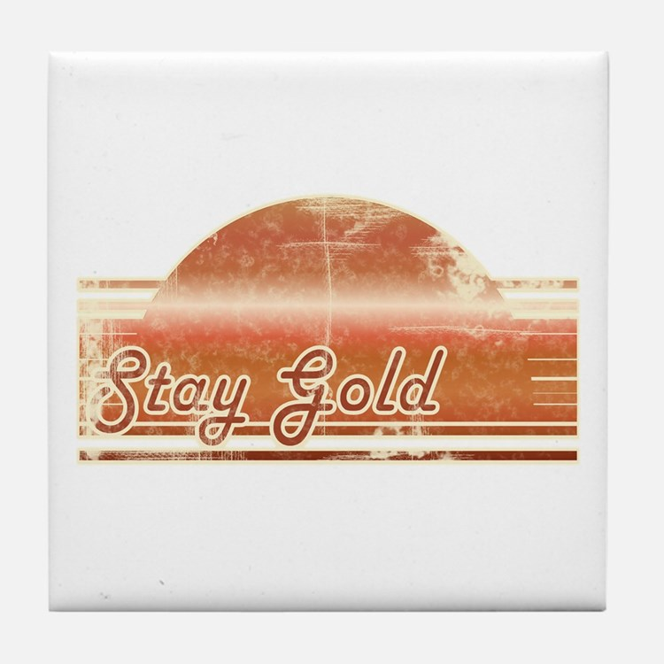 Vintage Distressed Stay Gold Tile Coaster