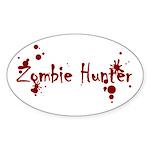 Zombie Hunter Splatters Oval Sticker