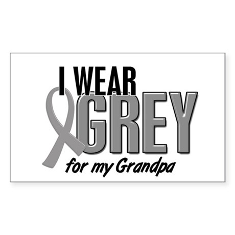 I Wear Grey For My Grandpa 10 Rectangle Sticker