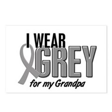 I Wear Grey For My Grandpa 10 Postcards (Package o