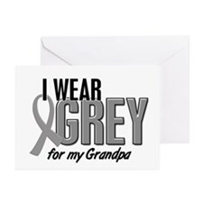 I Wear Grey For My Grandpa 10 Greeting Cards (Pk o
