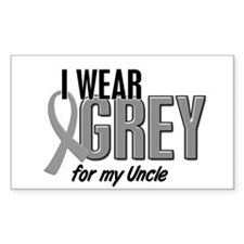 I Wear Grey For My Uncle 10 Rectangle Decal