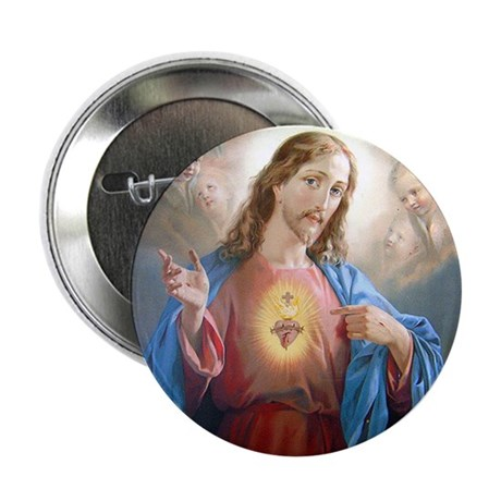 """Kitschy Sacred Heart of Jesus 2.25"""" Button (10 pac"""