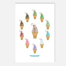 Kawaii Ice Cream Circle Postcards (Package of 8)