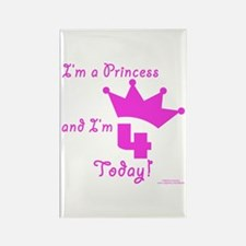 4th Birthday Princess Rectangle Magnet