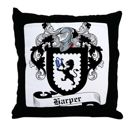 Harper Family Crest Throw Pillow