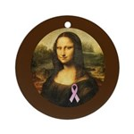 Mona Lisa with Pink Ribbon Ornament (Round)