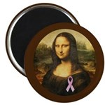 Mona Lisa with Pink Ribbon Magnet