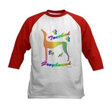 TOUCHED BY A GREYHOUND (RNBW) KIDS BASEBALL JERSEY