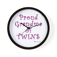 Proud Grandma of Twins Wall Clock