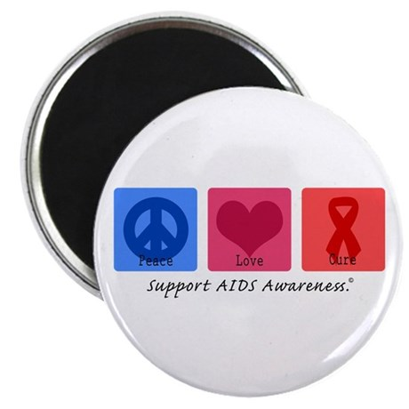 """Peace Love Cure AIDS 2.25"""" Magnet (100 pack)"""