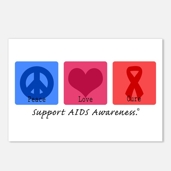 Peace Love Cure AIDS Postcards (Package of 8)