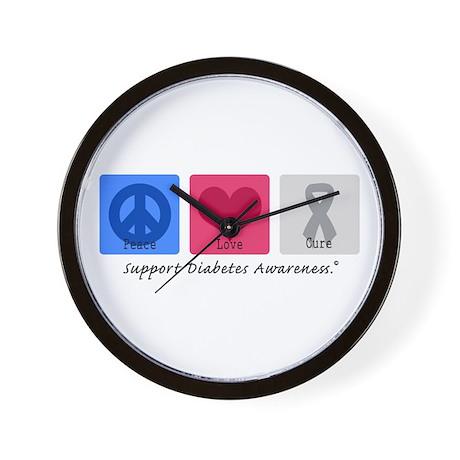 Peace Love Cure Diabetes Wall Clock