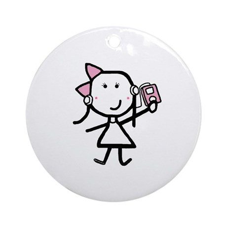 Girl & iPod Ornament (Round)