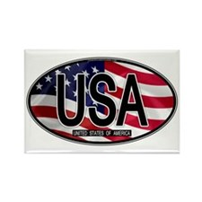 USA Colors Oval 2 Rectangle Magnet (10 pack)