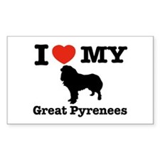 I love my Great Pyrenees Rectangle Decal