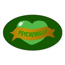 Psychobilly Heart Oval Decal