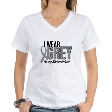 I Wear Grey For My Sister-In-Law 10 Women's V-Neck