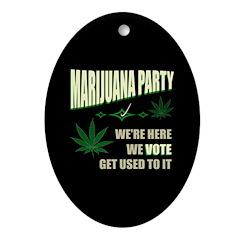 Marijuana Party Oval Ornament