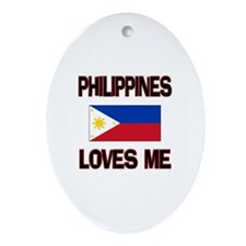 Philippines Loves Me Oval Ornament