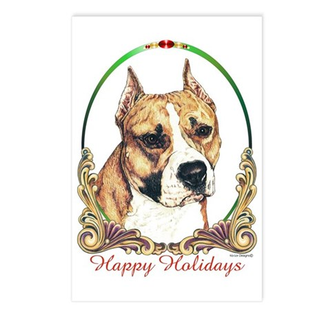 Am Staff Dog Holiday Postcards (Package of 8)