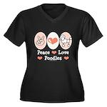 Peace Love Poodle Women's Plus Size V-Neck Dark T-