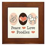 Peace Love Poodle Framed Tile