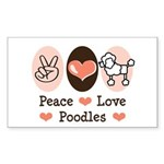 Peace Love Poodle Rectangle Sticker 50 pk)