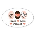 Peace Love Poodle Oval Sticker