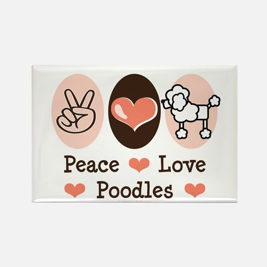 Peace Love Poodle Rectangle Magnet