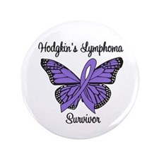 "Hodgkin's Survivor Butterfly 3.5"" Button"