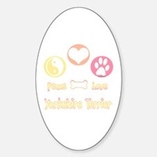 Yorkie Peace Oval Decal
