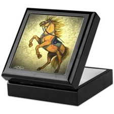 Rearing Golden carousel horse Keepsake Box