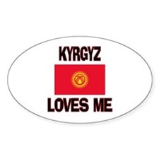 Kyrgyz Loves Me Oval Decal