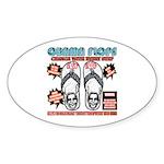 Obama flip flops Oval Sticker