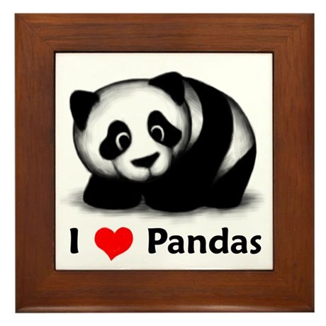 I Love Pandas Framed Tile