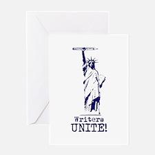 Writers Unite! (Blue) Greeting Card