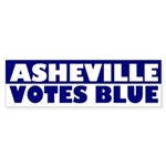Asheville Votes Blue (bumper sticker)