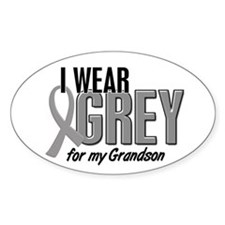 I Wear Grey For My Grandson 10 Oval Decal