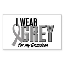 I Wear Grey For My Grandson 10 Rectangle Decal