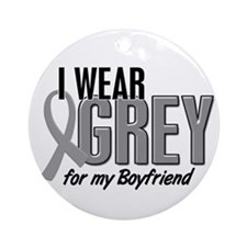 I Wear Grey For My Boyfriend 10 Ornament (Round)