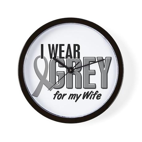 I Wear Grey For My Wife 10 Wall Clock