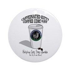 Caffeinated Kitty Latte Ornament (Round)