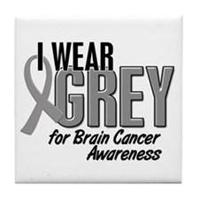 I Wear Grey For Awareness 10 Tile Coaster
