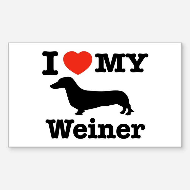I love my Weiner Rectangle Decal
