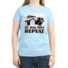 Eat, Sleep, Wheel - REPEAT Women's Pink T-Shirt