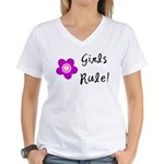 Girls Rule Women's V-Neck T-Shirt