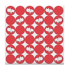 Kitty Cat Polka Dots Tile Drink Coaster