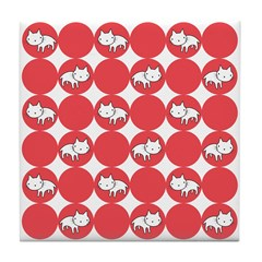 Kitty Cat Polka Dots Tile Drink Coaster
