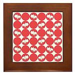 Kitty Cat Polka Dots Framed Tile
